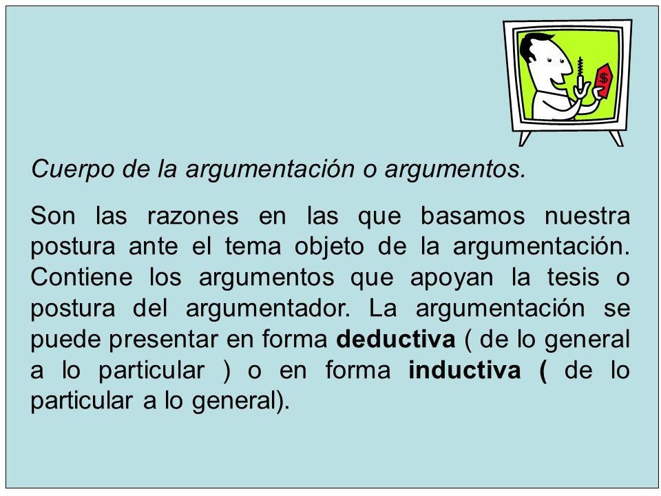 9 Cuerpo de la argumentación o argumentos. Son las razones en las que basamos nuestra postura ante el tema objeto de la argumentación. Contiene los ar
