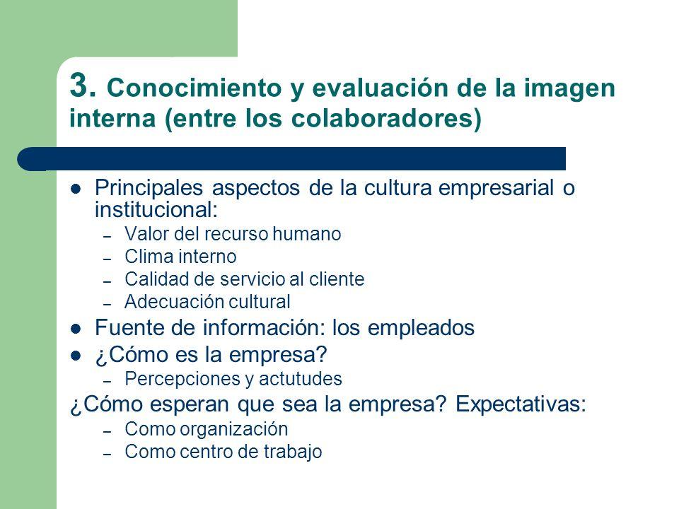 3. Conocimiento y evaluación de la imagen interna (entre los colaboradores) Principales aspectos de la cultura empresarial o institucional: – Valor de