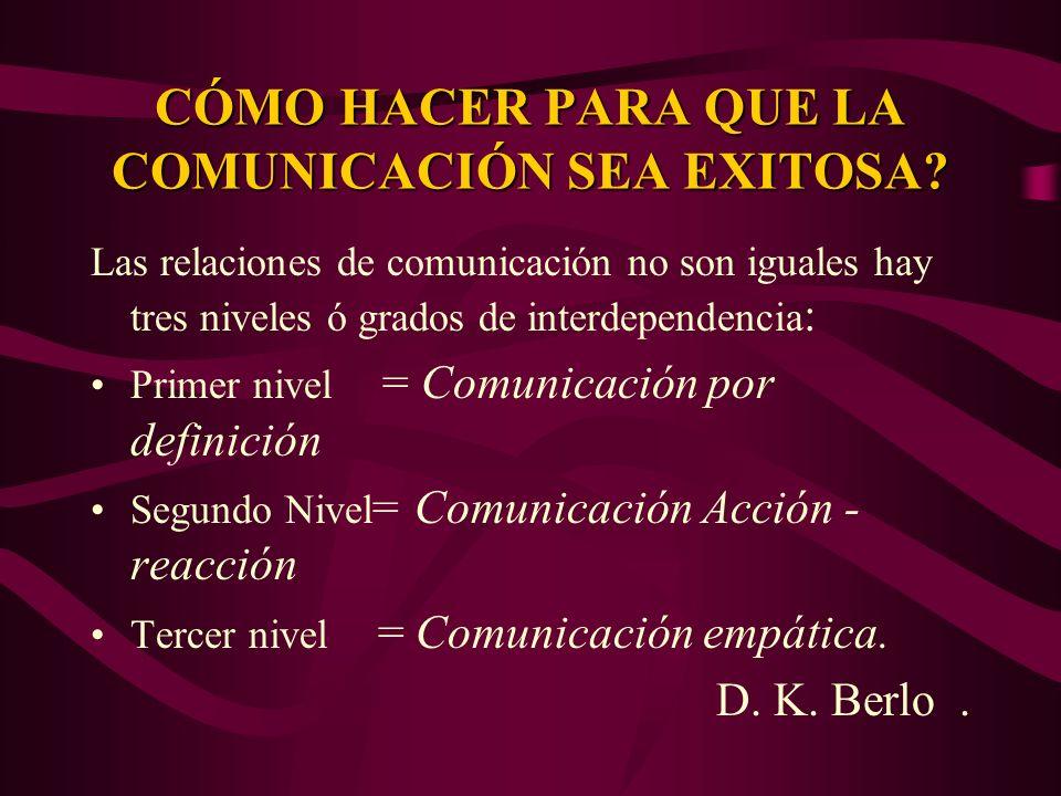 CÓMO HACER PARA QUE LA COMUNICACIÓN SEA EXITOSA? Las relaciones de comunicación no son iguales hay tres niveles ó grados de interdependencia : Primer