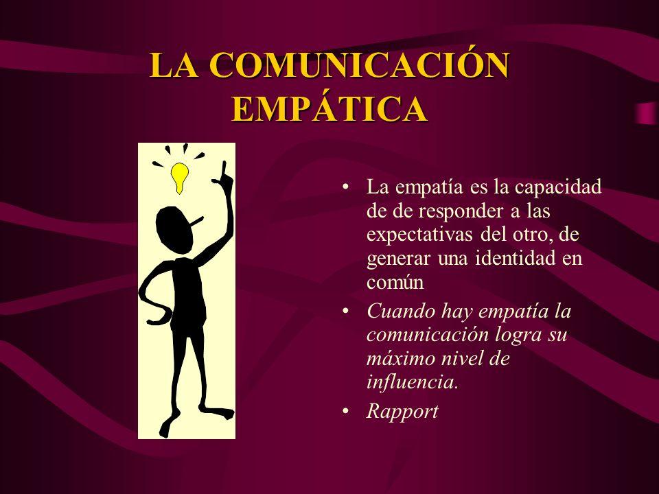 LA COMUNICACIÓN EMPÁTICA La empatía es la capacidad de de responder a las expectativas del otro, de generar una identidad en común Cuando hay empatía