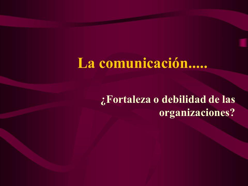 La comunicación..... ¿Fortaleza o debilidad de las organizaciones?