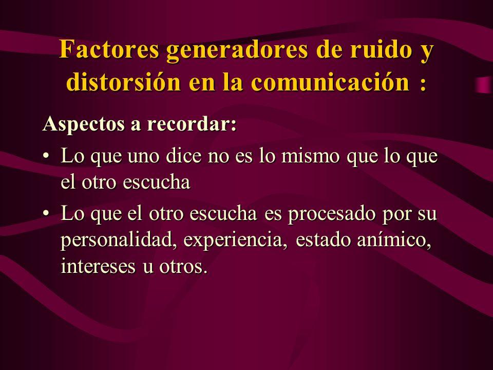 Factores generadores de ruido y distorsión en la comunicación : Aspectos a recordar: Lo que uno dice no es lo mismo que lo que el otro escuchaLo que u