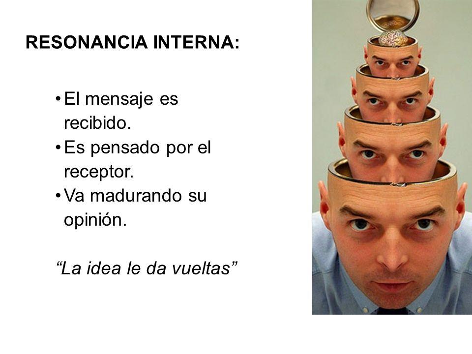 RESONANCIA INTERNA: El mensaje es recibido. Es pensado por el receptor. Va madurando su opinión. La idea le da vueltas