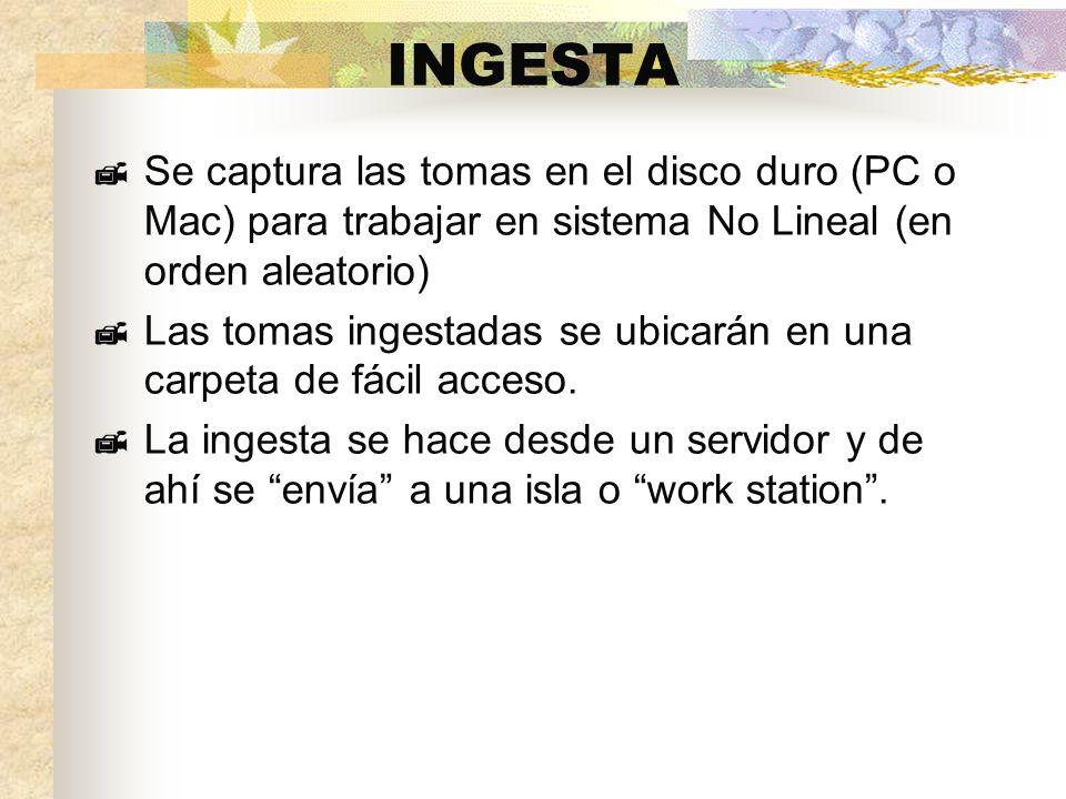INGESTA Se captura las tomas en el disco duro (PC o Mac) para trabajar en sistema No Lineal (en orden aleatorio) Las tomas ingestadas se ubicarán en una carpeta de fácil acceso.
