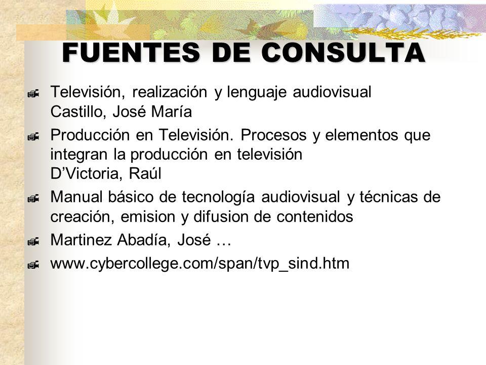 FUENTES DE CONSULTA Televisión, realización y lenguaje audiovisual Castillo, José María Producción en Televisión. Procesos y elementos que integran la