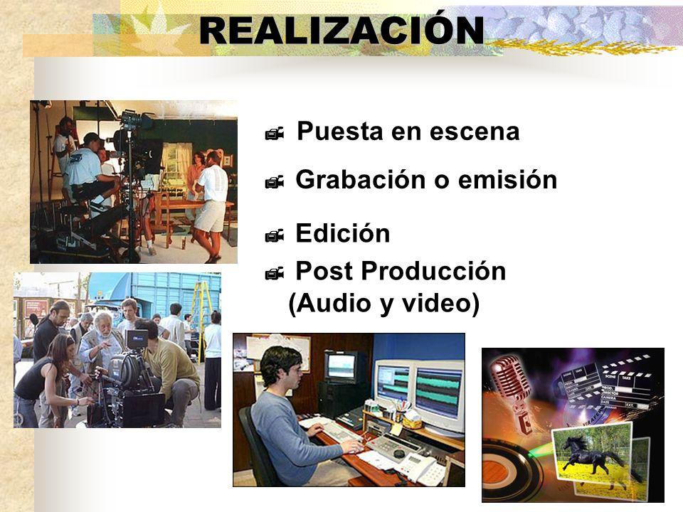 REALIZACIÓN Puesta en escena Grabación o emisión Edición Post Producción (Audio y video)