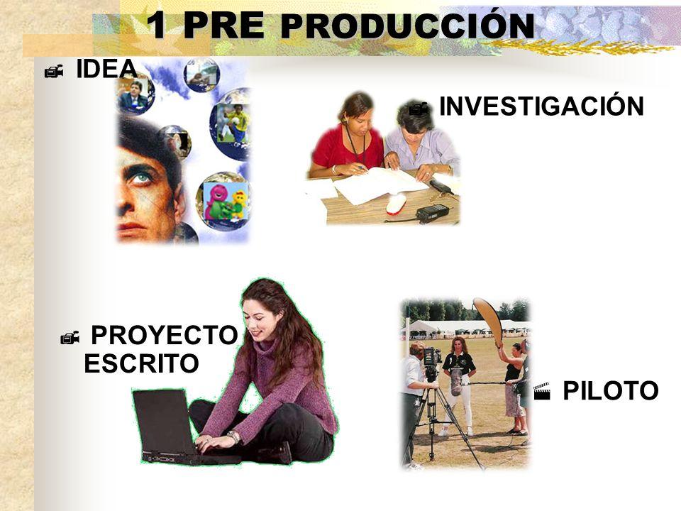 1 PRE PRODUCCIÓN IDEA PROYECTO ESCRITO PILOTO INVESTIGACIÓN