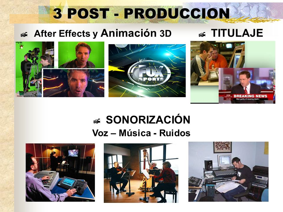 3 POST - PRODUCCION After Effects y Animación 3D TITULAJE SONORIZACIÓN Voz – Música - Ruidos