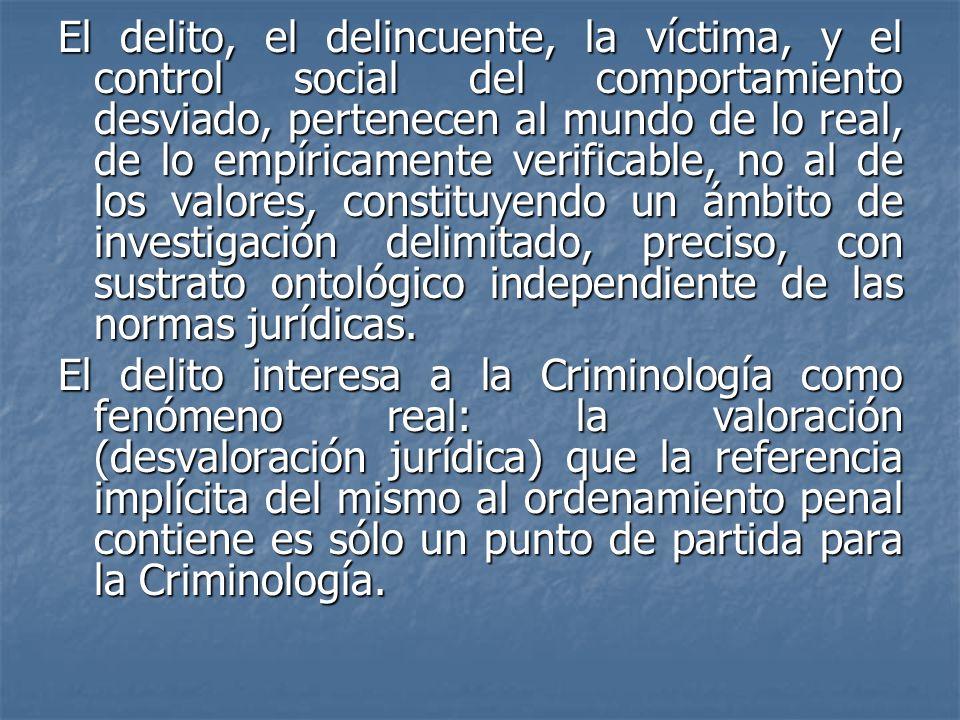El delito, el delincuente, la víctima, y el control social del comportamiento desviado, pertenecen al mundo de lo real, de lo empíricamente verificabl