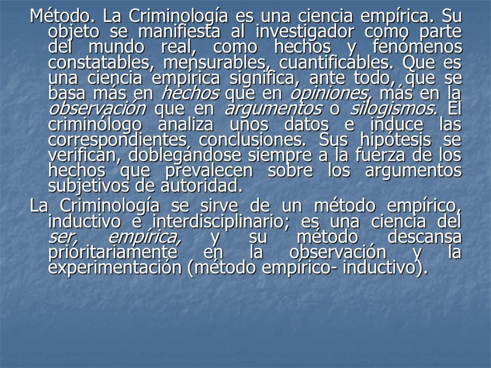 Método. La Criminología es una ciencia empírica. Su objeto se manifiesta al investigador como parte del mundo real, como hechos y fenómenos constatabl