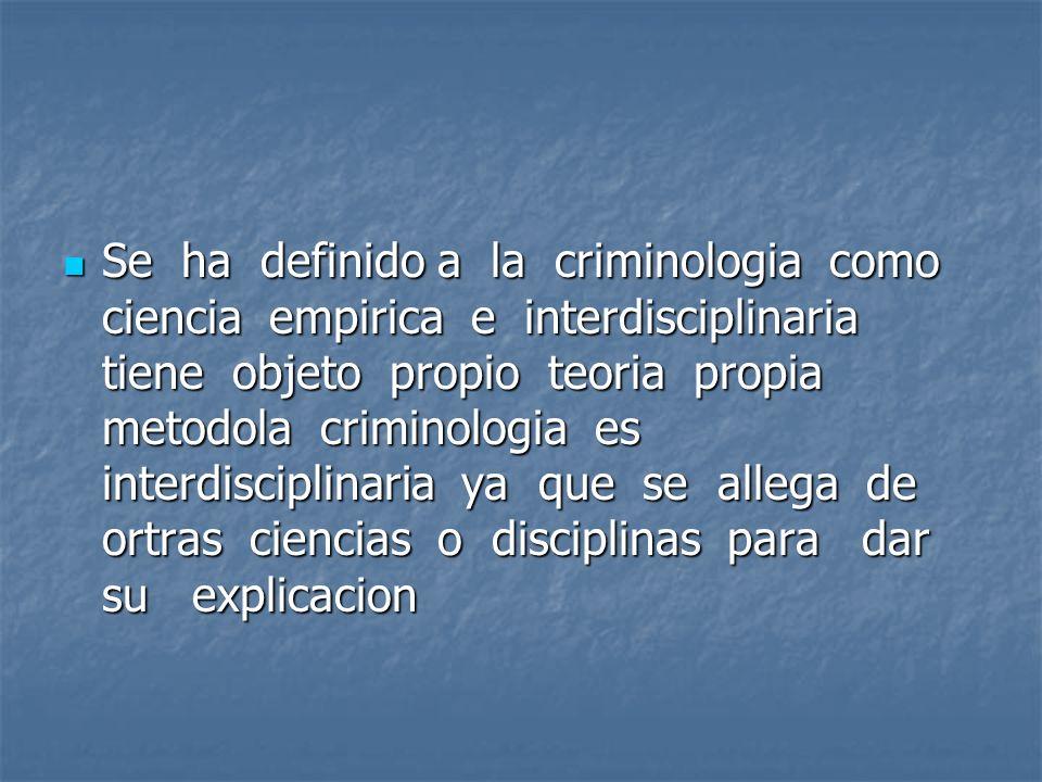 Se ha definido a la criminologia como ciencia empirica e interdisciplinaria tiene objeto propio teoria propia metodola criminologia es interdisciplina