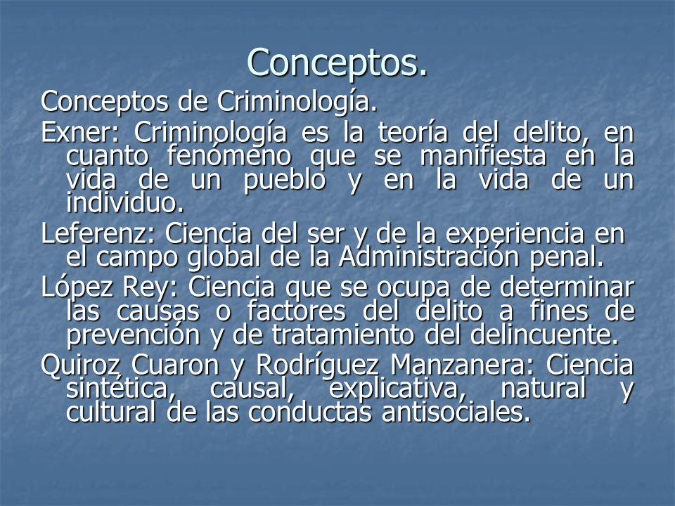 Conceptos. Conceptos de Criminología. Exner: Criminología es la teoría del delito, en cuanto fenómeno que se manifiesta en la vida de un pueblo y en l