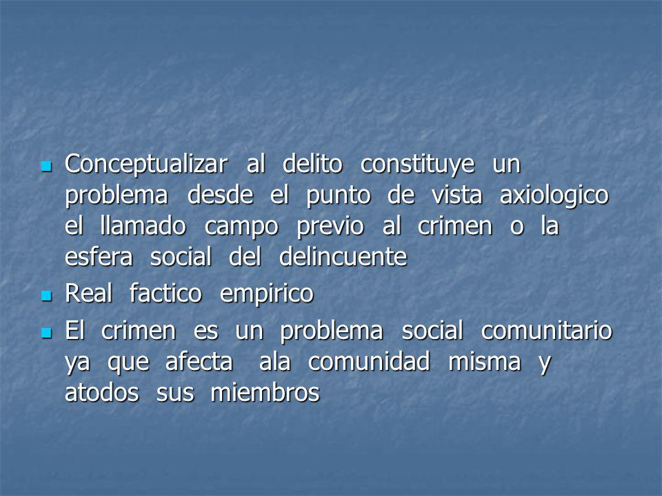 Conceptualizar al delito constituye un problema desde el punto de vista axiologico el llamado campo previo al crimen o la esfera social del delincuent