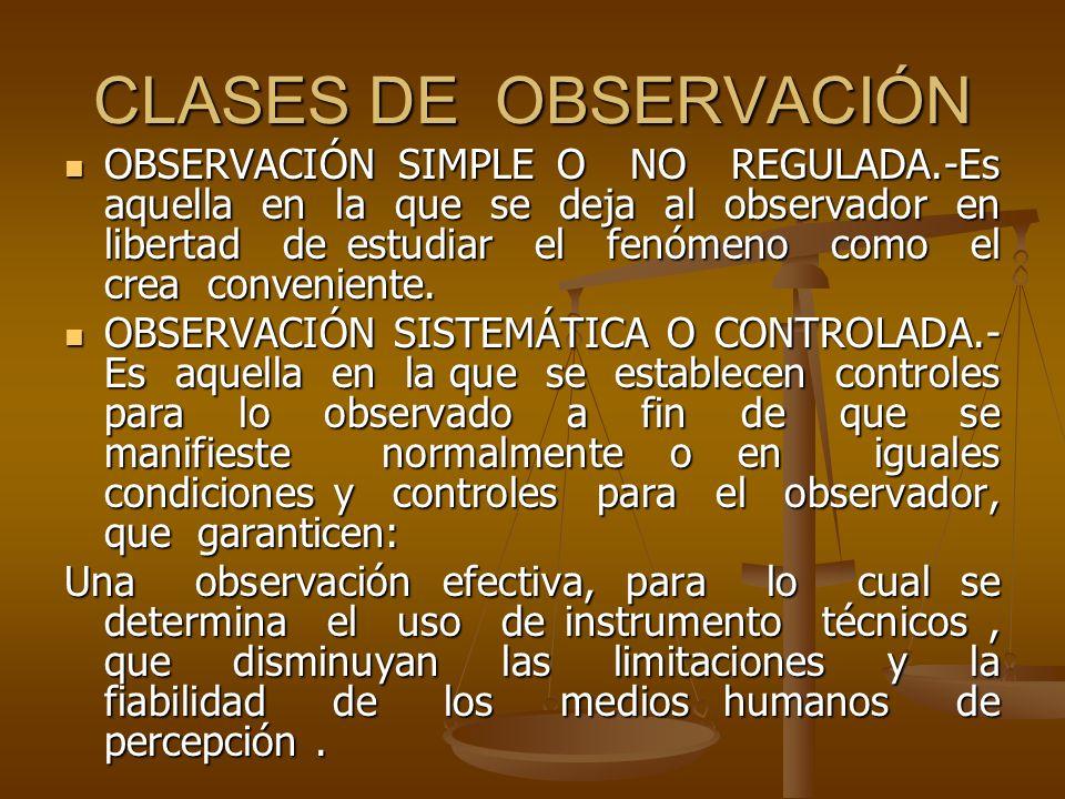 CLASES DE OBSERVACIÓN OBSERVACIÓN SIMPLE O NO REGULADA.-Es aquella en la que se deja al observador en libertad de estudiar el fenómeno como el crea co