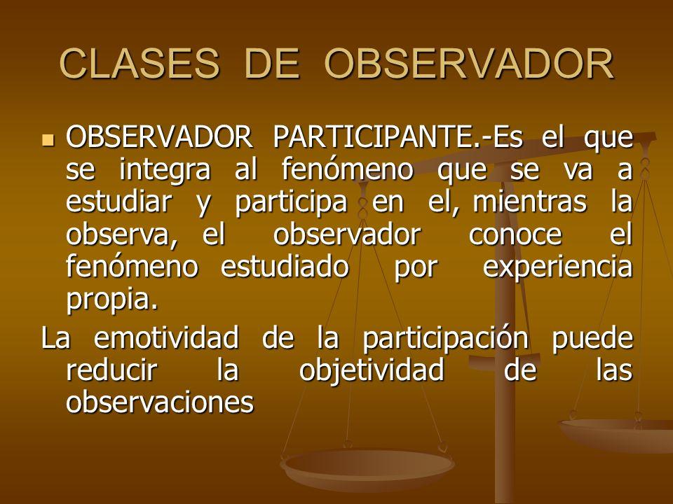 CLASES DE OBSERVADOR OBSERVADOR PARTICIPANTE.-Es el que se integra al fenómeno que se va a estudiar y participa en el, mientras la observa, el observa