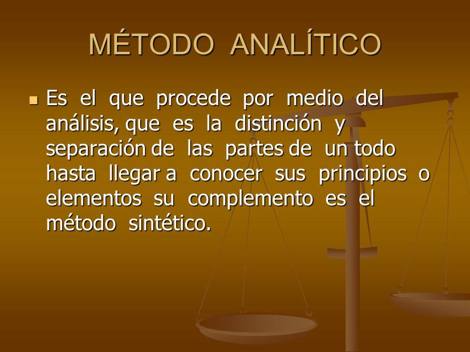 MÉTODO ANALÍTICO Es el que procede por medio del análisis, que es la distinción y separación de las partes de un todo hasta llegar a conocer sus princ