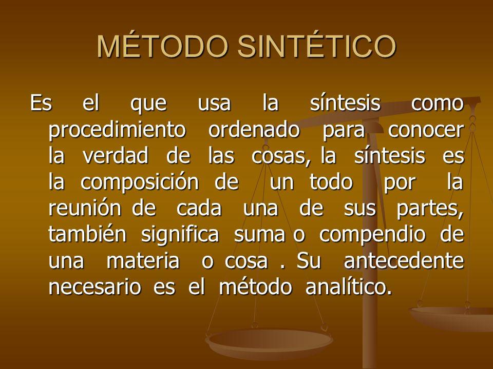 MÉTODO SINTÉTICO Es el que usa la síntesis como procedimiento ordenado para conocer la verdad de las cosas, la síntesis es la composición de un todo p