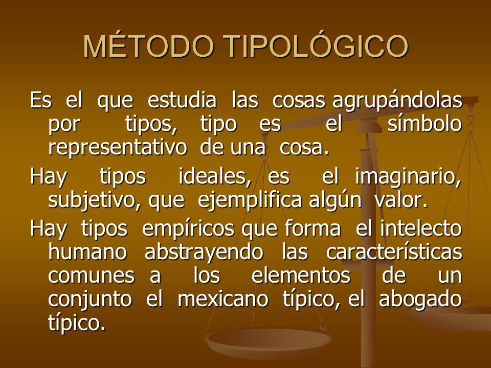 MÉTODO TIPOLÓGICO Es el que estudia las cosas agrupándolas por tipos, tipo es el símbolo representativo de una cosa. Hay tipos ideales, es el imaginar