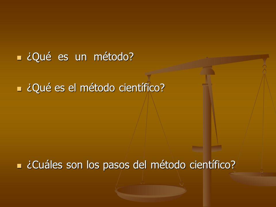 ¿Qué es un método? ¿Qué es un método? ¿Qué es el método científico? ¿Qué es el método científico? ¿Cuáles son los pasos del método científico? ¿Cuáles