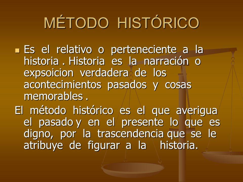 MÉTODO HISTÓRICO Es el relativo o perteneciente a la historia. Historia es la narración o expsoicion verdadera de los acontecimientos pasados y cosas