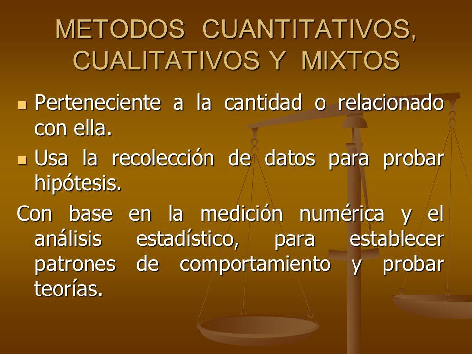 METODOS CUANTITATIVOS, CUALITATIVOS Y MIXTOS Perteneciente a la cantidad o relacionado con ella. Perteneciente a la cantidad o relacionado con ella. U