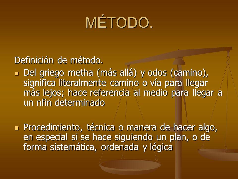 MÉTODO. Definición de método. Del griego metha (más allá) y odos (camino), significa literalmente camino o vía para llegar más lejos; hace referencia
