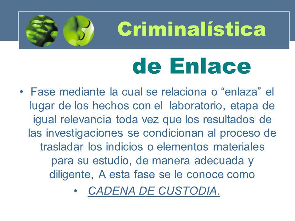 Criminalística de Enlace Fase mediante la cual se relaciona o enlaza el lugar de los hechos con el laboratorio, etapa de igual relevancia toda vez que