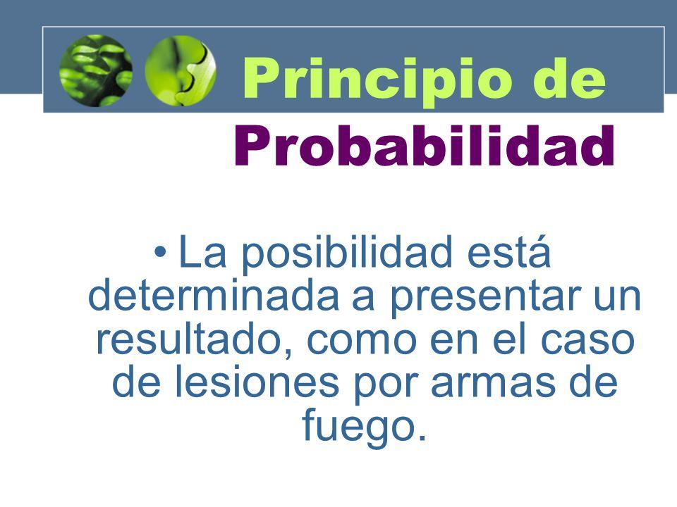 La posibilidad está determinada a presentar un resultado, como en el caso de lesiones por armas de fuego. Principio de Probabilidad