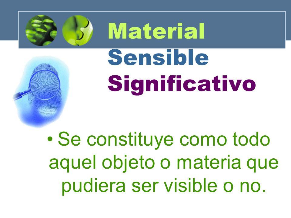 Material Sensible Significativo Se constituye como todo aquel objeto o materia que pudiera ser visible o no.