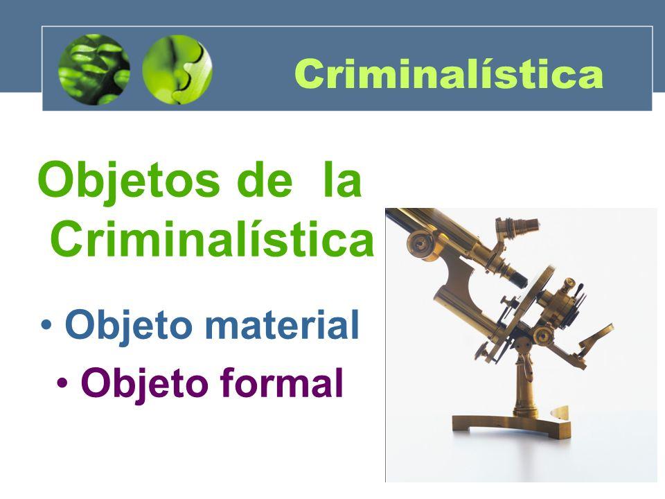 Objetos de la Criminalística Objeto material: Analiza el material sensible significativo de manera metodológica a través de las disciplinas específicas.