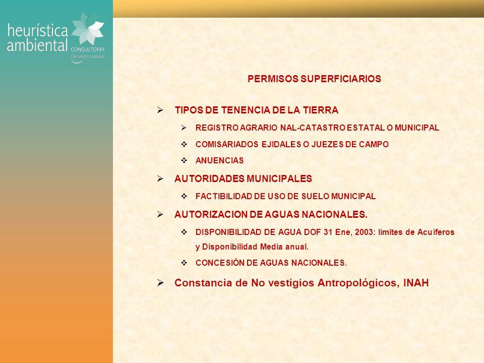 PERMISOS SUPERFICIARIOS TIPOS DE TENENCIA DE LA TIERRA REGISTRO AGRARIO NAL-CATASTRO ESTATAL O MUNICIPAL COMISARIADOS EJIDALES O JUEZES DE CAMPO ANUENCIAS AUTORIDADES MUNICIPALES FACTIBILIDAD DE USO DE SUELO MUNICIPAL AUTORIZACION DE AGUAS NACIONALES.