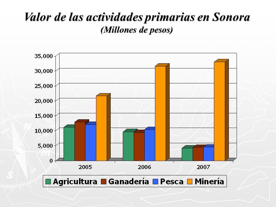 Valor de las actividades primarias en Sonora (Millones de pesos)