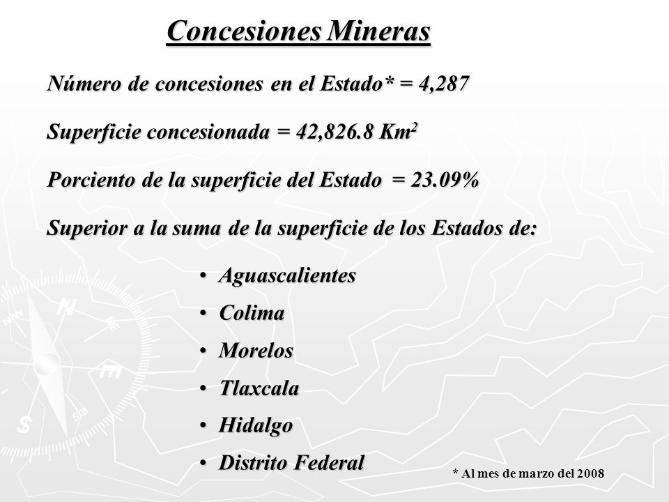 Número de concesiones en el Estado* = 4,287 Superficie concesionada = 42,826.8 Km 2 Porciento de la superficie del Estado = 23.09% Superior a la suma