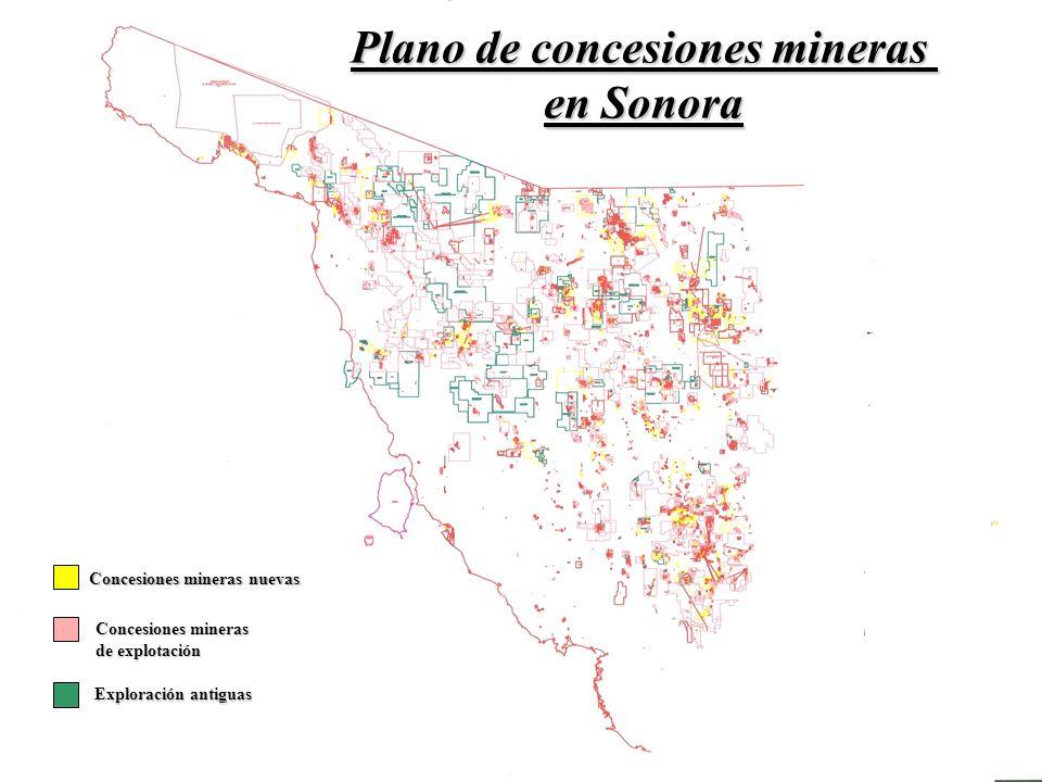 Plano de concesiones mineras en Sonora Concesiones mineras nuevas Exploración antiguas Concesiones mineras de explotación