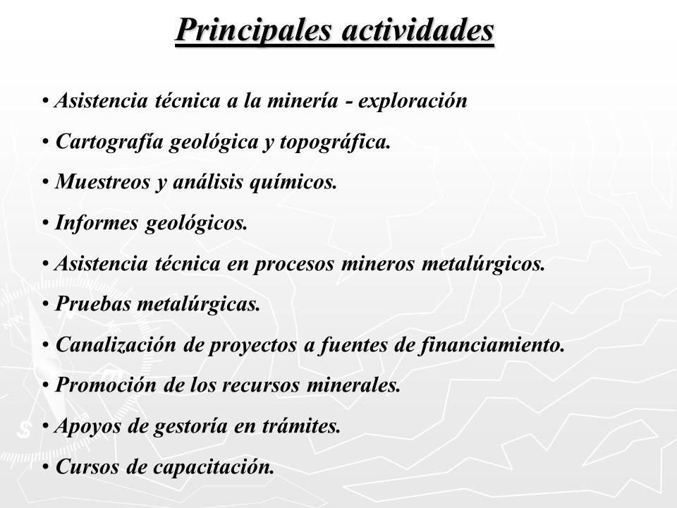 Principales actividades Asistencia técnica a la minería - exploración Cartografía geológica y topográfica. Muestreos y análisis químicos. Informes geo