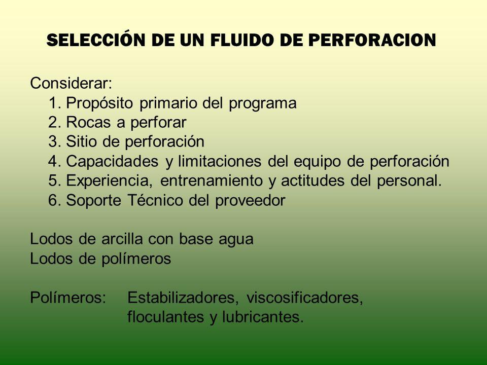 SELECCIÓN DE UN FLUIDO DE PERFORACION Considerar: 1. Propósito primario del programa 2. Rocas a perforar 3. Sitio de perforación 4. Capacidades y limi