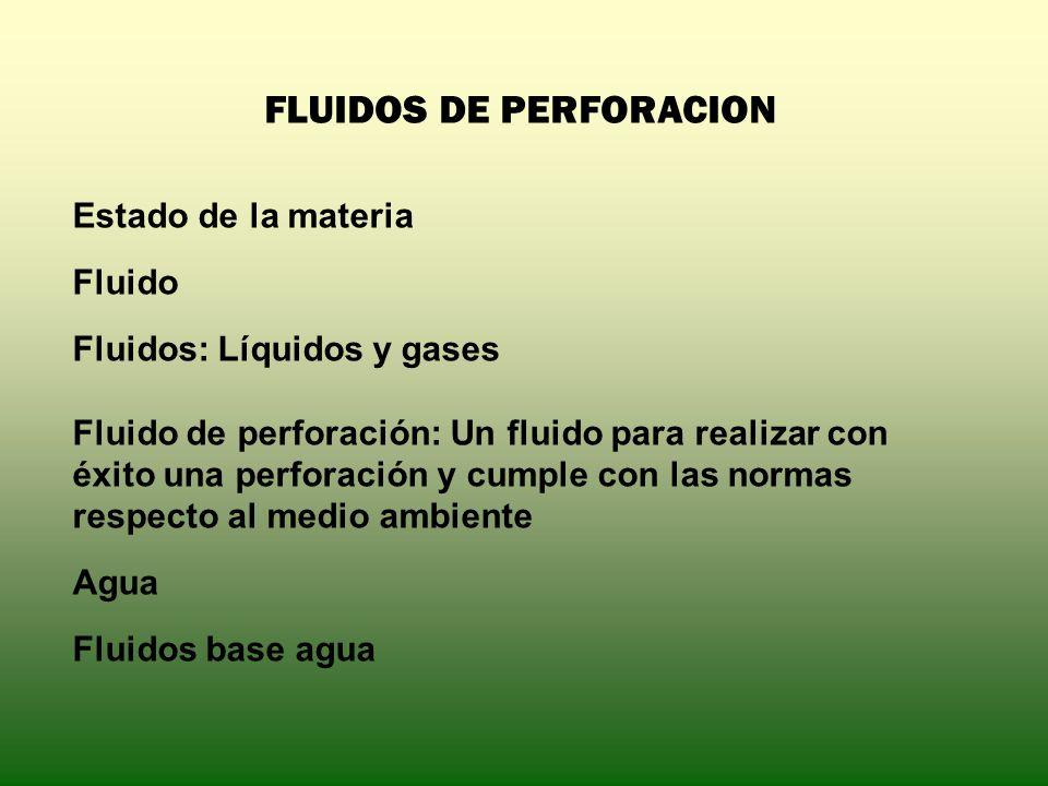 FLUIDOS DE PERFORACION Estado de la materia Fluido Fluidos: Líquidos y gases Fluido de perforación: Un fluido para realizar con éxito una perforación