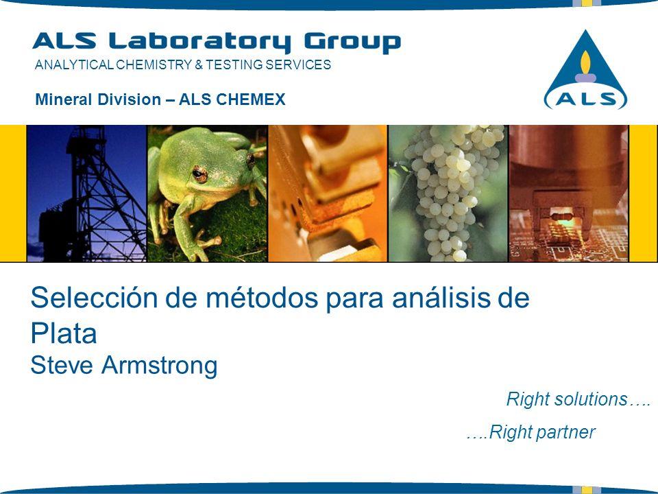 ANALYTICAL CHEMISTRY & TESTING SERVICES Selección de métodos para análisis de Plata Right solutions…. ….Right partner Mineral Division – ALS CHEMEX St