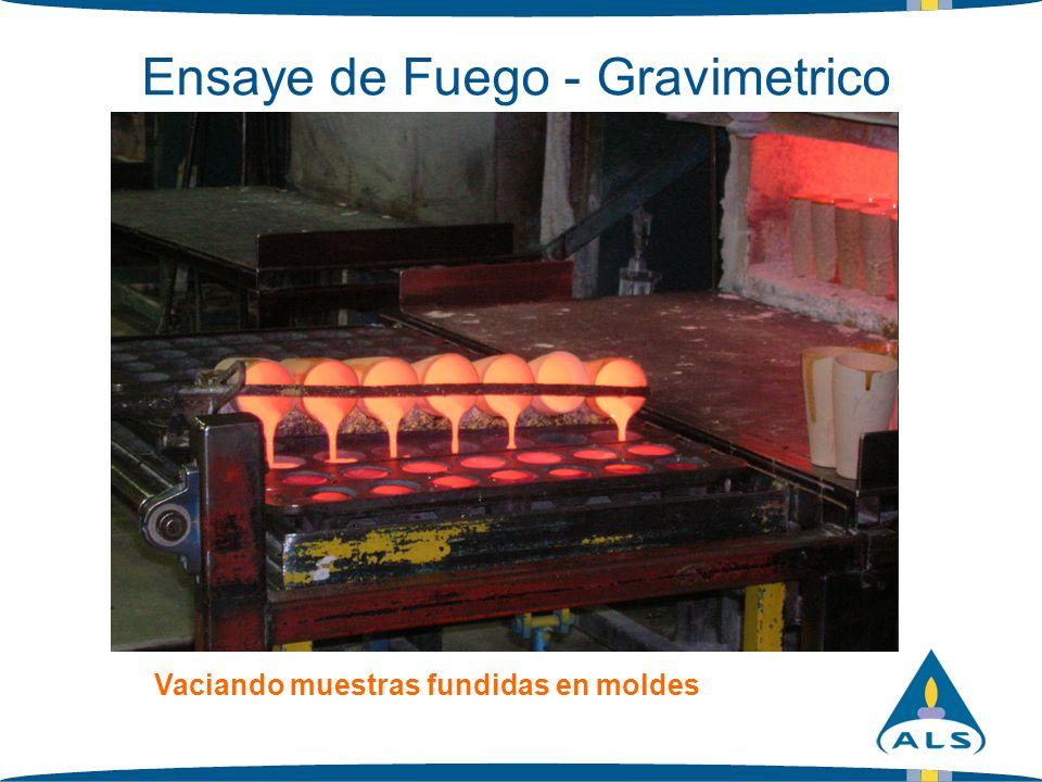 Ensaye de Fuego - Gravimetrico Vaciando muestras fundidas en moldes