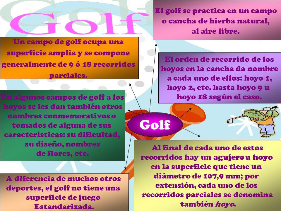 El golf se practica en un campo o cancha de hierba natural, al aire libre. A diferencia de muchos otros deportes, el golf no tiene una superficie de j