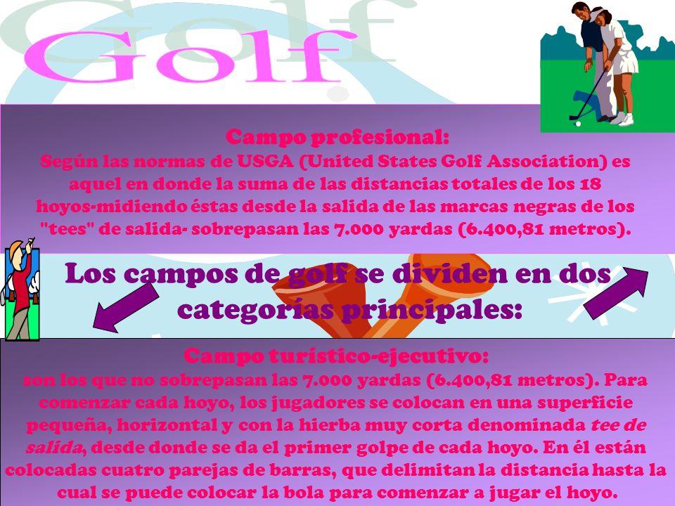 Los campos de golf se dividen en dos categorías principales: Campo profesional: Según las normas de USGA (United States Golf Association) es aquel en