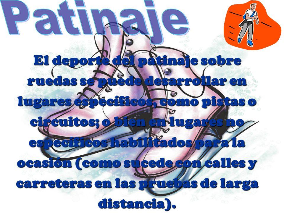 El deporte del patinaje sobre ruedas se puede desarrollar en lugares específicos, como pistas o circuitos; o bien en lugares no específicos habilitado
