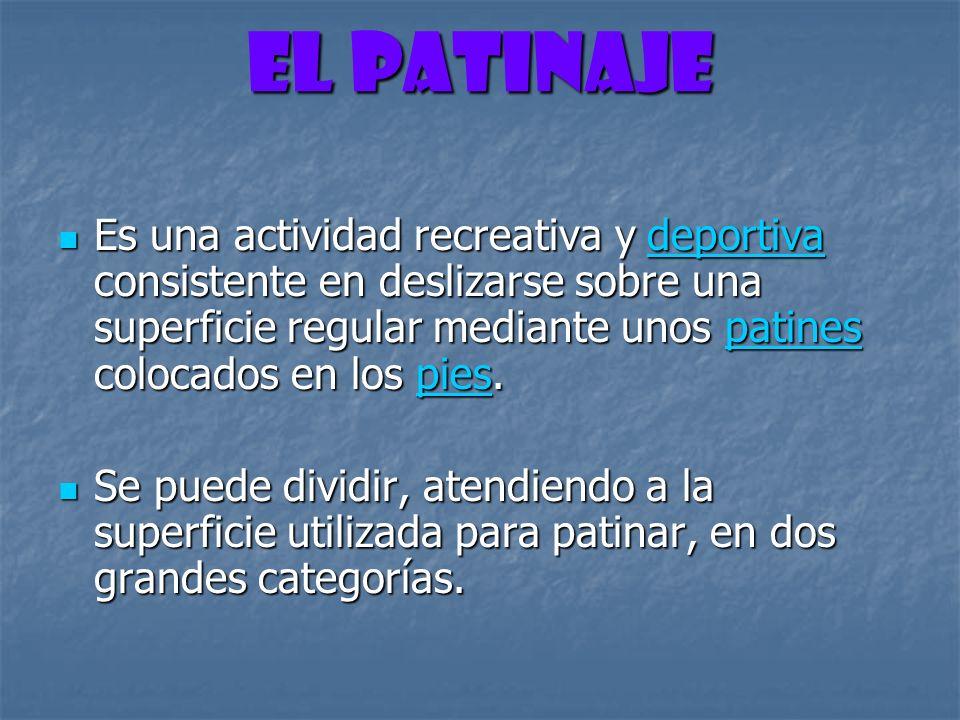 El PATINAJE CATEGORIAS DEL PATINAJE CATEGORIAS DEL PATINAJE Patinaje sobre hielo Patinaje sobre hielo Patinaje sobre ruedas Patinaje sobre ruedas