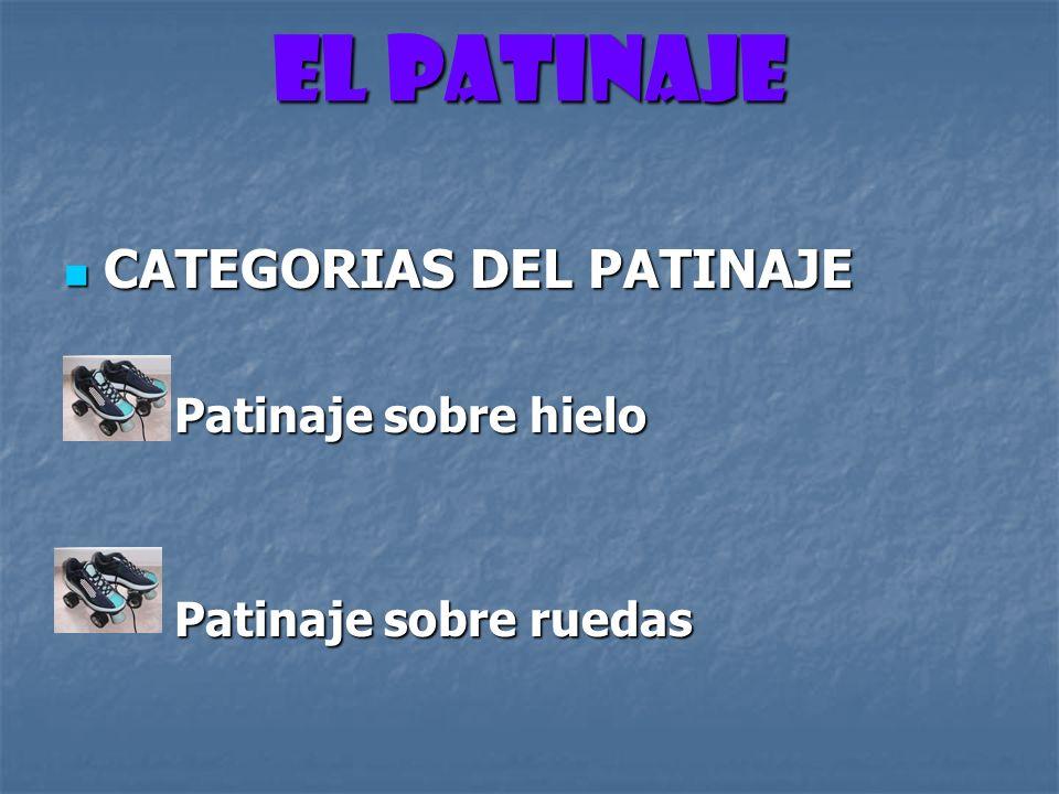 CATEGORIAS DEL PATINAJE PATINAJE SOBRE HIELO Se lleva a cabo sobre una superficie de hielo hielo Natural Artificial Natural Artificial
