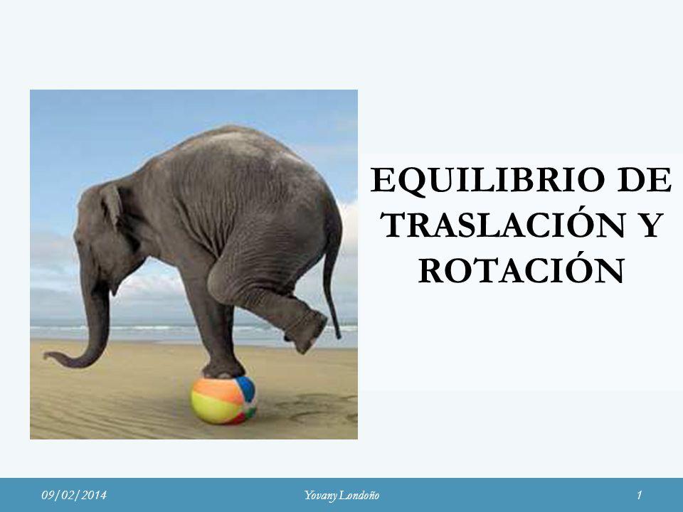EQUILIBRIO DE TRASLACIÓN Y ROTACIÓN 09/02/2014Yovany Londoño1