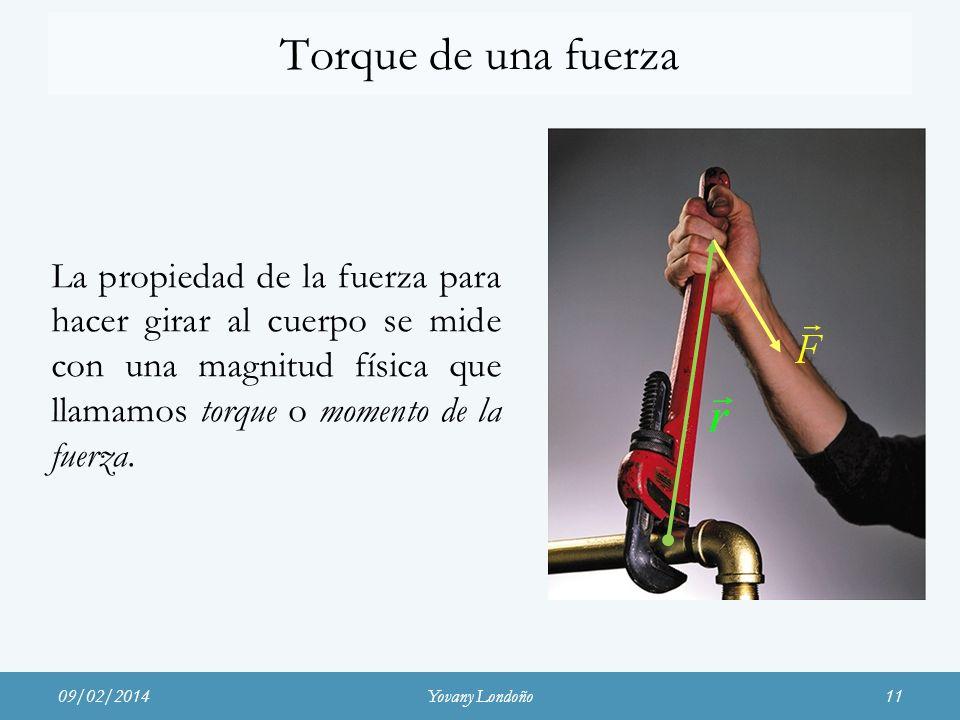La propiedad de la fuerza para hacer girar al cuerpo se mide con una magnitud física que llamamos torque o momento de la fuerza. 09/02/201411 Torque d