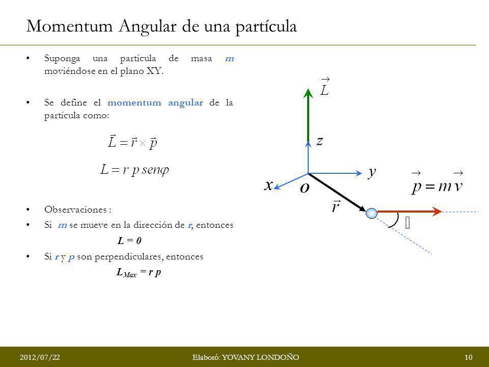 2012/07/2210Elaboró: YOVANY LONDOÑO Momentum Angular de una partícula Suponga una partícula de masa m moviéndose en el plano XY. Se define el momentum