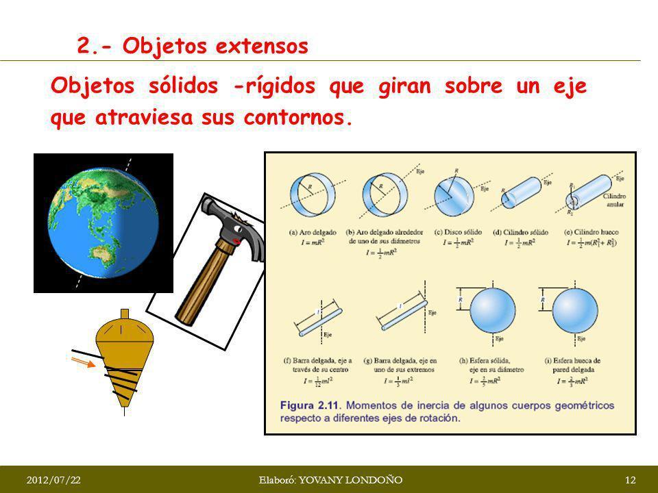 2.- Objetos extensos Objetos sólidos -rígidos que giran sobre un eje que atraviesa sus contornos. 2012/07/22Elaboró: YOVANY LONDOÑO12