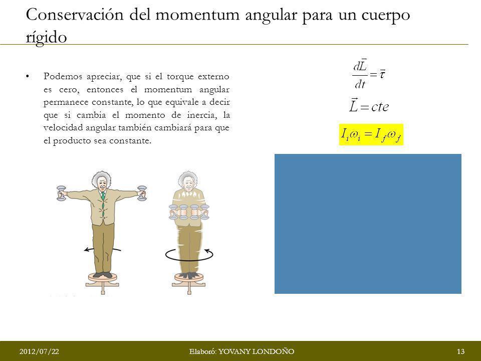 2012/07/2213Elaboró: YOVANY LONDOÑO Conservación del momentum angular para un cuerpo rígido Podemos apreciar, que si el torque externo es cero, entonc