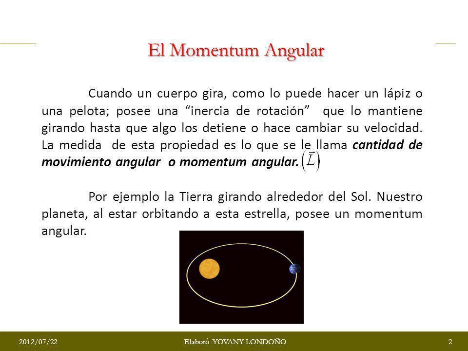 El Momentum Angular Cuando un cuerpo gira, como lo puede hacer un lápiz o una pelota; posee una inercia de rotación que lo mantiene girando hasta que